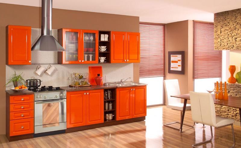 Кухня по фен-шуй оранжевая