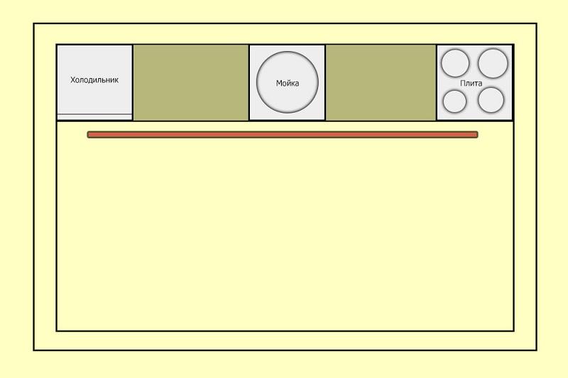 Плита, мойка и холодильник на кухне