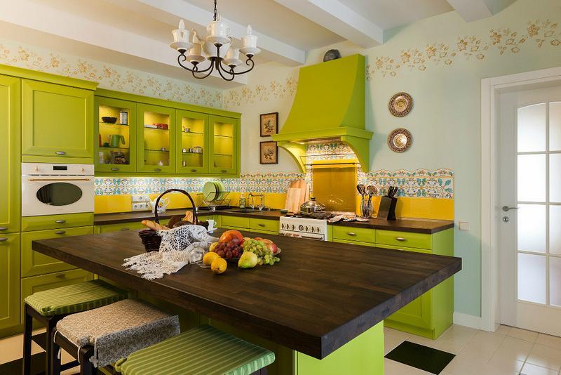 Зеленый цвет на кухне по фен-шуй
