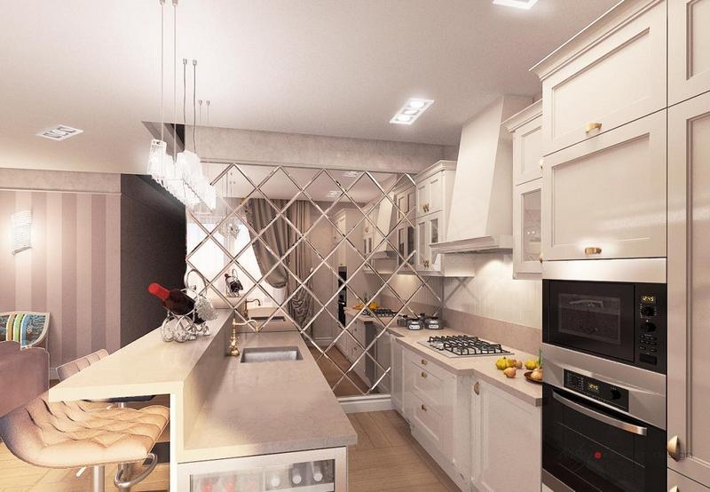 Зеркало на стене на кухне