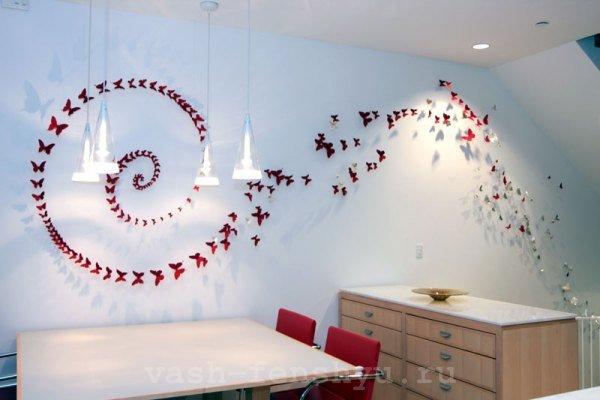 бабочки по фен шуй декор стен