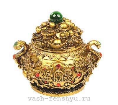 чаша богатства фен шуй золотая