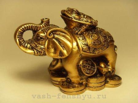 слон фен шуй с жабой