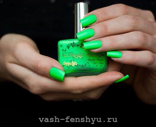 ногти по фен шуй зеленый