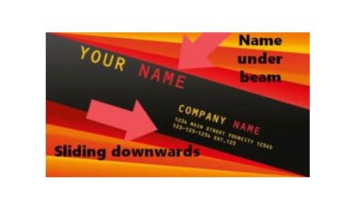 название компании на визитке под балкой